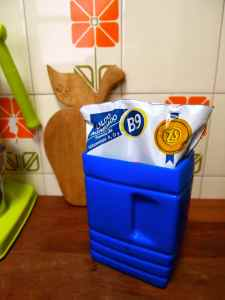 Milk is sold in this kind of plastic bag. The blue container is a holder.